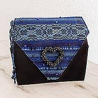 Beaded rayon wristlet handbag, 'Atitlan Heart' - Beaded rayon wristlet handbag