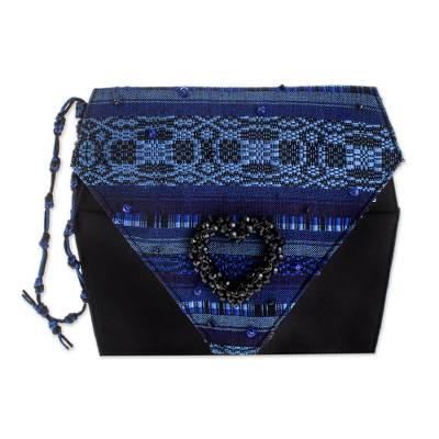 Beaded rayon wristlet handbag