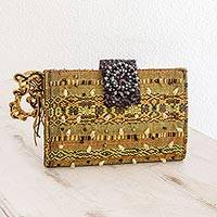 Beaded rayon clutch handbag, 'Atitlan Canary' - Beaded rayon clutch handbag
