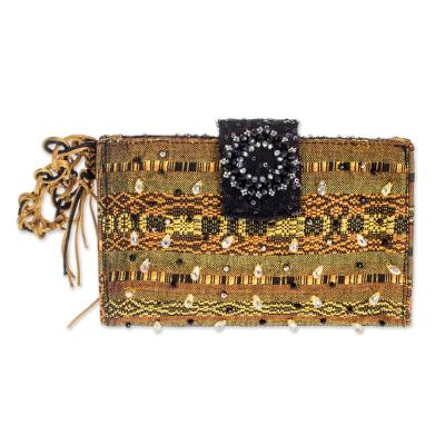 Beaded rayon clutch handbag