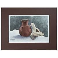 'Clay Jar and Dove' - Still Life Realist Painting