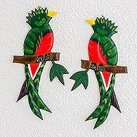 Pinewood wall sculptures, 'Quetzal Birds' (pair) - Hand Carved Wood Wall Sculptures (Pair)