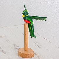 Pinewood sculpture, 'Green Quetzal Bird' - Hand Carved Quetzal Bird Wood Sculpture and Stand