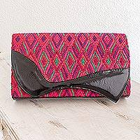Leather accent cotton clutch handbag Santa Maria Red Guatemala