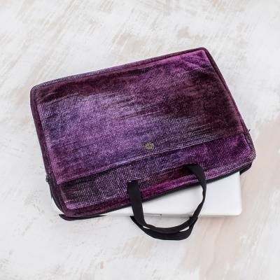 Bamboo chenille and cotton laptop case, 'Iridescent Violet' (14 inch) - Bamboo chenille and cotton laptop case (14 inch)