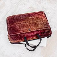Bamboo chenille and cotton laptop case, 'Iridescent Lands' (14 inch) - Bamboo chenille and cotton laptop case (14 inch)