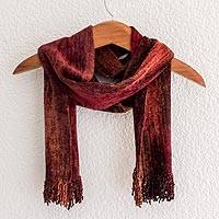 Bamboo chenille and cotton scarf, 'Autumn Dreamer' - Bamboo chenille and cotton scarf