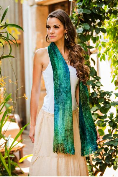 Cotton blend scarf, 'Emerald Dreamer' - Handcrafted Cotton Blend Scarf