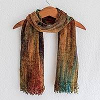 Cotton blend scarf, 'Summer Dreamer' - Unique Bamboo Chenille Scarf from Guatemala