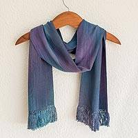 Rayon chenille scarf, 'Solola Sapphire' - Women's Bamboo fibre Handmade Scarf
