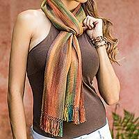 Rayon chenille scarf, 'Solola Autumn' - Handcrafted Bamboo fibre Scarf