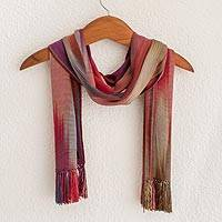 Rayon chenille scarf, 'Solola Fireworks' - Handwoven Bamboo fibre Scarf from Central America