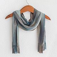 Rayon chenille scarf, 'Solola Rainfall' - Hand Made Bamboo fibre Scarf