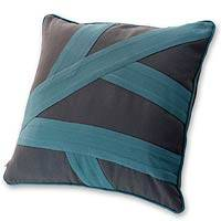 Cotton cushion cover, 'Turquoise Paths' - Grey and Blue Cotton Cushion Cover