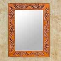 Mirror, 'Rustic Apple Blossoms' - Artisan Crafted Floral Wood Mirror