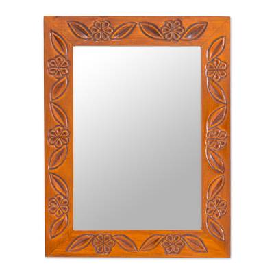 Artisan Crafted Floral Wood Mirror