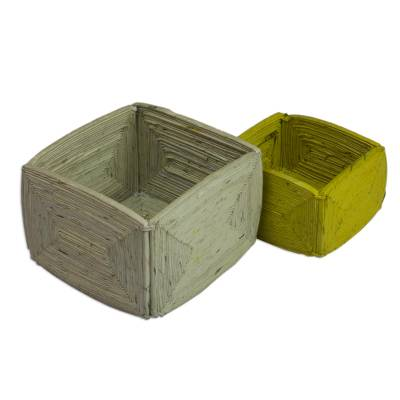 Recycled paper boxes, 'Harmony' (pair) - Modern Recycled Paper Decorative Boxes (Pair)