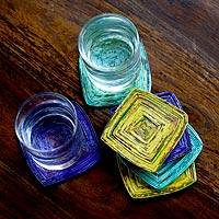 Recycled paper coasters, 'Tropical Glow' (set of 6)