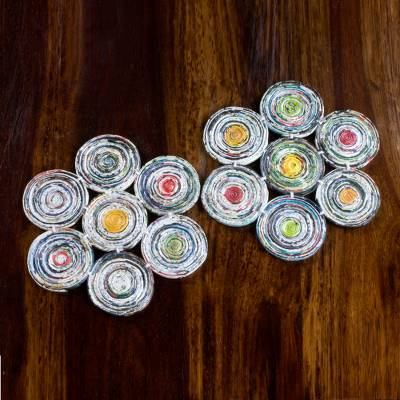 Recycled paper hot pads, 'Floral Spin' (pair) - Handcrafted Floral Recycled Paper Hot Plates (Pair)
