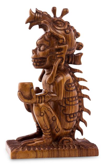Unique cultural wood sculpture maya god of death novica