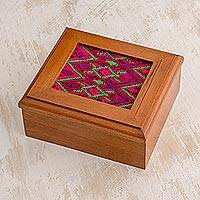 Cedar and cotton tea box, 'Santa Maria Diamonds' - Cedar and cotton tea box