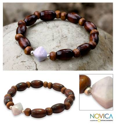 Wood and jade stretch bracelet, 'Maya Creator' - Handcrafted Wood Bead Stretch Bracelet