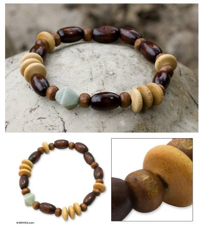 Wood and jade stretch bracelet, 'Maya Transformation' - Wood Beaded Jade Stretch Bracelet