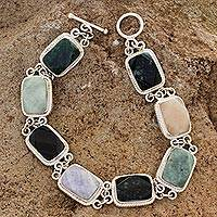 Jade and quartz link bracelet, 'Maya Rainbow' - Collectible Sterling Silver Jade and Quartz Link Bracelet