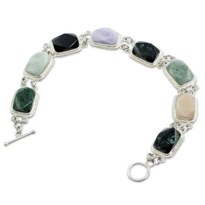 Collectible Sterling Silver Jade and Quartz Link Bracelet