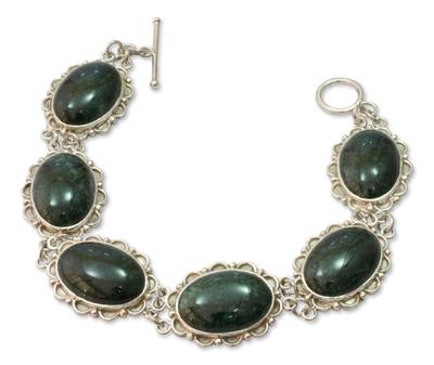 Fair Trade Sterling Silver Green Jade Link Bracelet