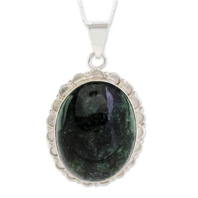 Central American Sterling Silver Jade Pendant Necklace