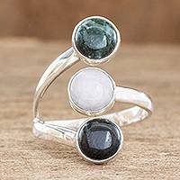 Jade wrap ring, 'Peace, Love and Harmony' - Handmade Sterling Silver Jade Wrap Ring