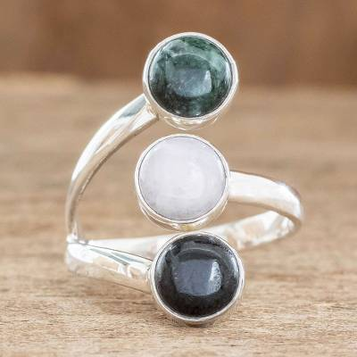 om ring silver gold grey - Handmade Sterling Silver Jade Wrap Ring
