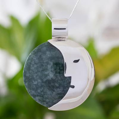Jade pendant necklace, 'Face of the Moon' - Hand Crafted Sterling Silver Pendant Jade Necklace