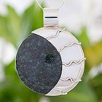 Jade pendant necklace, 'Place of the Moon'