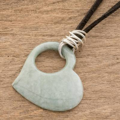 Leather and jade heart necklace, 'Heavenly Love' - Unique Sterling Silver Heart Shaped Pendant Jade Necklace