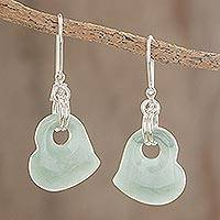 Jade heart earrings, Heavenly Love