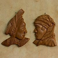 Mahogany wall sculptures,
