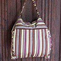 Cotton travel bag, 'Colors of My Land' - Handmade Striped  Cotton Travel Bag