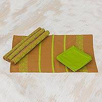 Cotton placemats and napkins, 'Highland Mystique' (set for 4) - Cotton placemats and napkins (Set for 4)