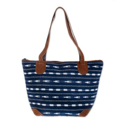 Leather accent cotton shoulder bag, 'Blue Maya' - Leather accent cotton shoulder bag