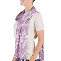 Cotton scarf, 'Maya Jacaranda' - Hand Woven Cotton Purple Scarf