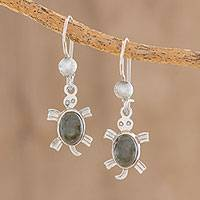 Jade dangle earrings, 'Marine Turtles' - Handcrafted Sterling Silver Sea Life Dangle Jade Earrings