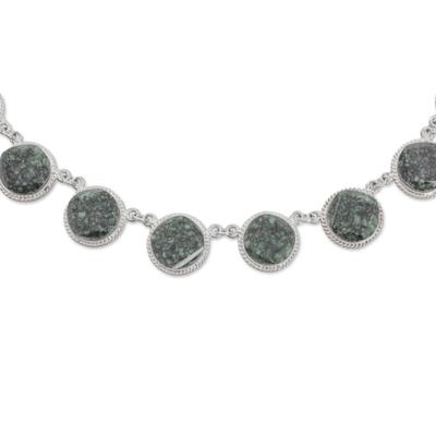 Sterling Silver Jade Link Necklace