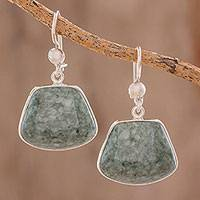 Jade dangle earrings, 'Maya Quetzal' - Jade dangle earrings