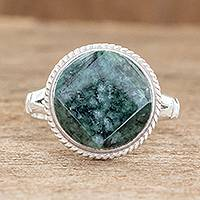 Jade cocktail ring, 'Square Circle' - Sterling Silver Green Jade Cocktail Ring
