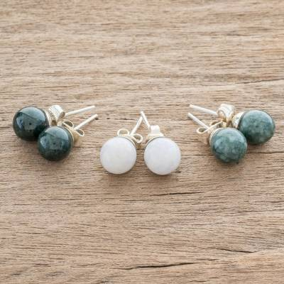 Jade stud earrings, 'Maya Moons' (set of 3) - Handmade Sterling Silver Jade Stud Earrings (Set of 3)