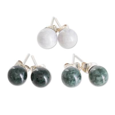 Handmade Sterling Silver Jade Stud Earrings (Set of 3)
