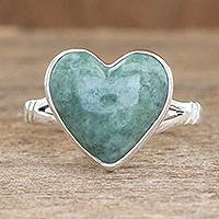 Jade heart ring, 'Love Immemorial' - Unique Heart Shaped Sterling Silver Jade Cocktail Ring