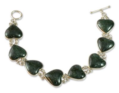 Heart Shaped Jade Sterling Silver Link Bracelet